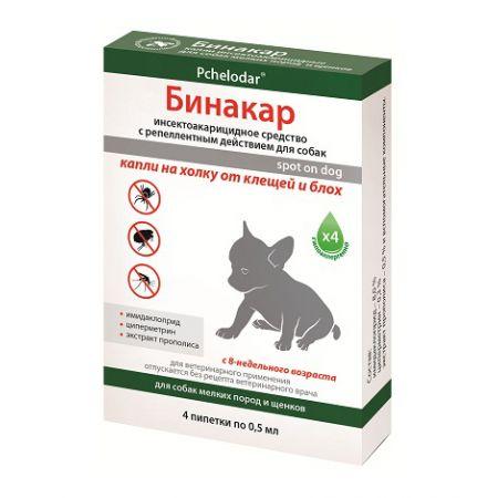Бинакар капли на холку от клещей и блох для щенков и собак мелких пород