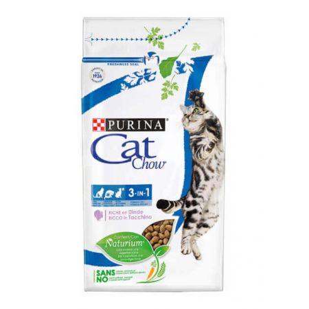 Cat Chow Felin 3 в 1 сухой корм для взрослых кошек, лечение МКБ, защита зубов и десен, вывод шерсти