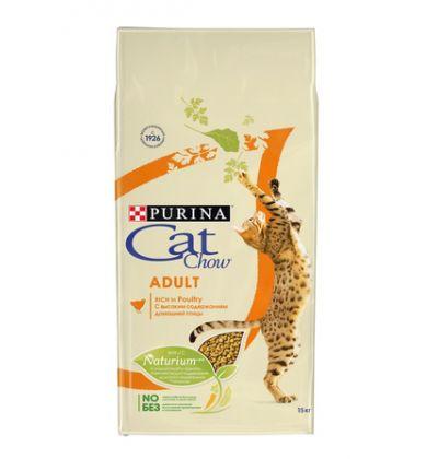 Cat Chow Dry Adult сухой повседневный корм для взрослых кошек, с курицей и индейкой