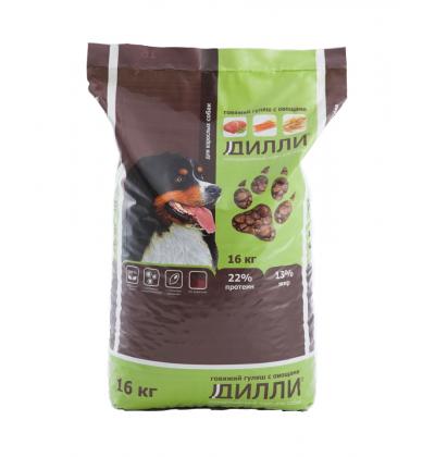 Дилли Говяжий гуляш с овощами, сухой корм для взрослых собак