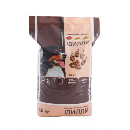 Дилли Говяжья печень с овсянкой, сухой корм для взрослых собак