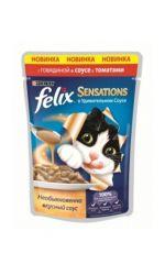 Felix Sensations влажный корм для взрослых кошек всех пород, с говядиной в соусе с томатами