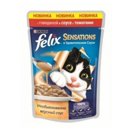 Felix Sensations влажный корм для взрослых кошек всех пород, говядина и томат в соусе