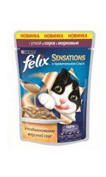 Felix Sensations влажный корм для взрослых кошек всех пород, с уткой в соусе с морковью
