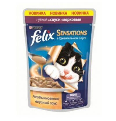Felix Sensations влажный корм для взрослых кошек всех пород, утка и морковь