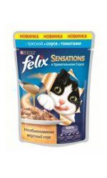 Felix Sensations влажный корм для взрослых кошек всех пород, с треской в соусе с томатами
