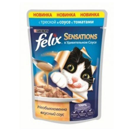 Felix Sensations влажный корм для взрослых кошек всех пород, треска и томат