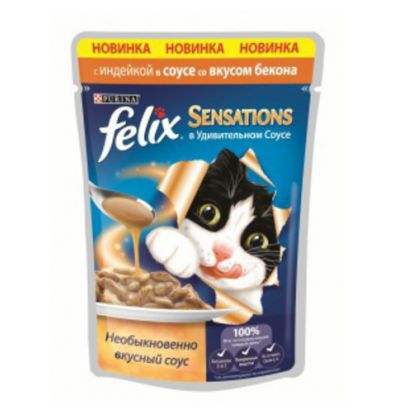 Felix Sensations влажный корм для взрослых кошек всех пород, индейка и бекон