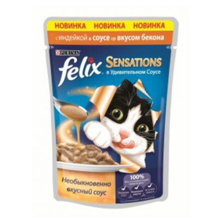 Felix Sensations влажный корм для взрослых кошек всех пород, с индейкой в соусе со вкусом бекона