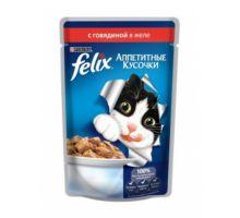 Felix влажный корм для взрослых кошек всех пород, с говядиной в желе