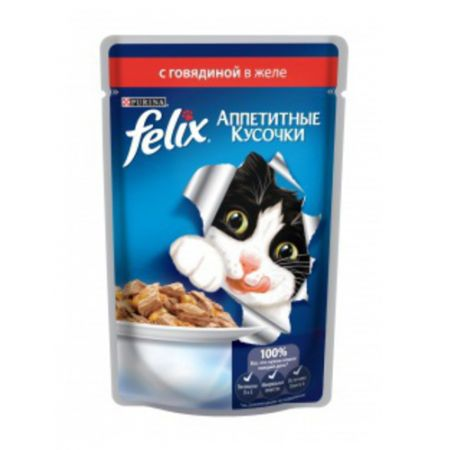 Felix влажный корм для взрослых кошек всех пород, говядина