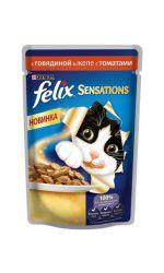 Felix Sensations влажный корм для взрослых кошек всех пород, c говядиной в желе с томатами