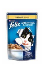 Felix влажный корм для взрослых кошек всех пород, с курицей в желе