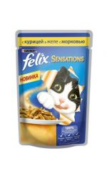Felix Sensations влажный корм для взрослых кошек всех пород, с курицей в желе с морковью