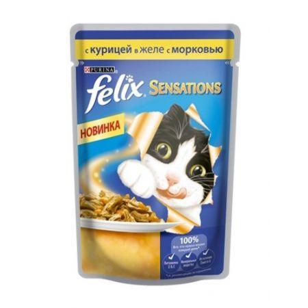 Felix Sensations влажный корм для взрослых кошек всех пород, курица и морковь