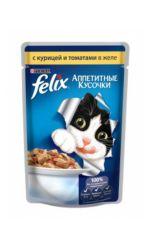 Felix влажный корм для взрослых кошек всех пород, с курицей и томатами в желе