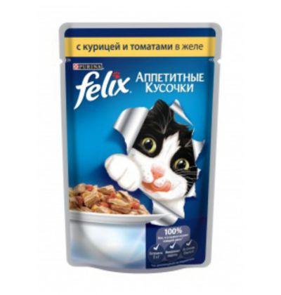 Felix влажный корм для взрослых кошек всех пород, курица в томатах