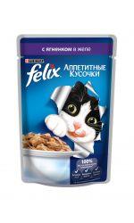 Felix влажный корм для взрослых кошек всех пород, с ягненком в желе