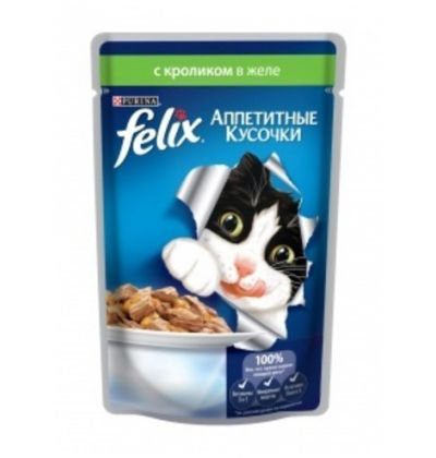 Felix влажный корм для взрослых кошек всех пород, кролик