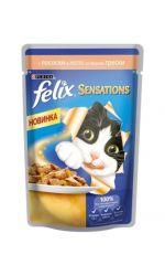 Felix Sensations влажный корм для взрослых кошек всех пород, с лососем в желе со вкусом трески