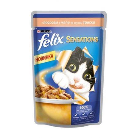 Felix Sensations влажный корм для взрослых кошек всех пород, лосось и треской