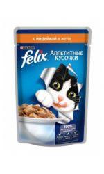 Felix влажный корм для взрослых кошек всех пород, с индейкой в желе