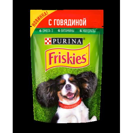 Friskies корм консервированный для взрослых собак, кусочки с говядиной в подливе