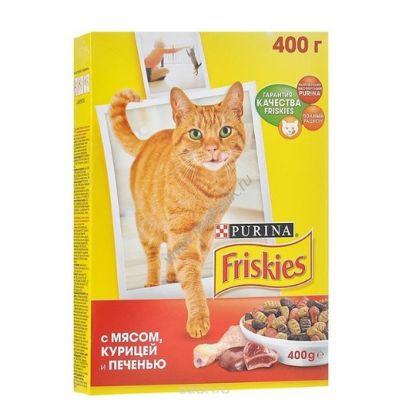 Friskies сухой корм для взрослых кошек всех пород, с мясом, курицей и печенью