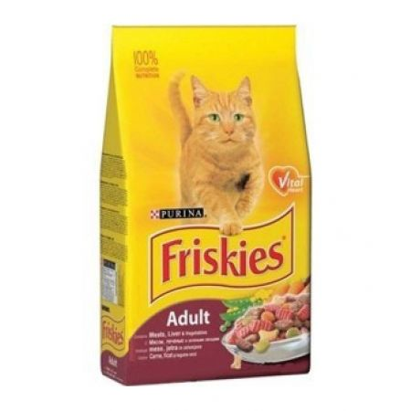Friskies сухой корм для взрослых кошек всех пород, мясо и овощи