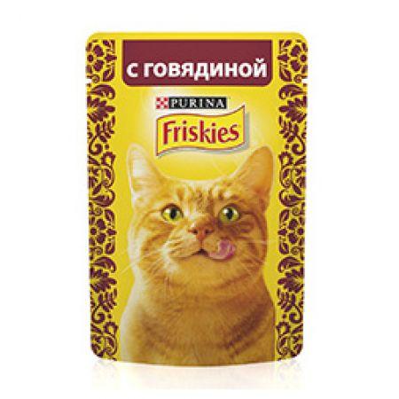 Friskies влажный корм для взрослых кошек всех пород, кусочки говядины в подливе