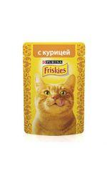 Friskies влажный корм для взрослых кошек всех пород, курица в подливе