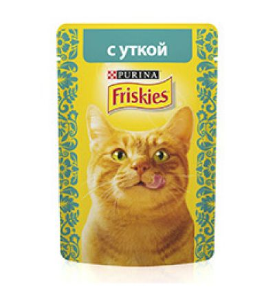 Friskies влажный корм для взрослых кошек всех пород, утка в подливе