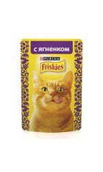 Friskies влажный корм для взрослых кошек всех пород, кусочки ягненка в подливе