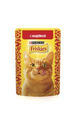 Friskies влажный корм для взрослых кошек всех пород, индейка в подливе