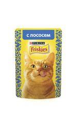 Friskies влажный корм для взрослых кошек всех пород, c лососем в подливе