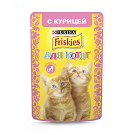 Friskies влажный корм для котят всех пород, кусочки курицы в подливе
