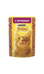 Friskies влажный корм для взрослых кошек всех пород, печень в подливе