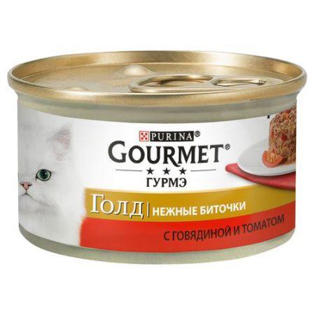 Gourmet консервы для взрослых кошек всех пород, говядина с томатами