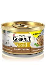 Gourmet консервы для взрослых кошек всех пород, нежные биточки с индейкой и шпинатом