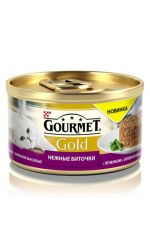 Gourmet консервы для взрослых кошек всех пород, нежные биточки с ягненком и фасолью