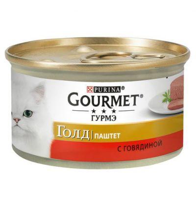 Gourmet консервы для взрослых кошек всех пород, паштет из говядины