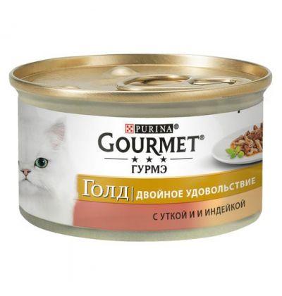 Gourmet консервы для взрослых кошек всех пород, кусочки в соусе с уткой и индейкой