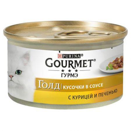 Gourmet консервы для взрослых кошек всех пород, курица с печенью