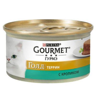Gourmet консервы для взрослых кошек всех пород, кусочки в паштете с кроликом по-французски