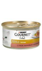 Gourmet консервы для взрослых кошек всех пород, кусочки в паштете с уткой, морковью и шпинатом