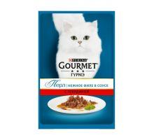 Gourmet Perle влажный корм для взрослых кошек всех пород, говядина в соусе