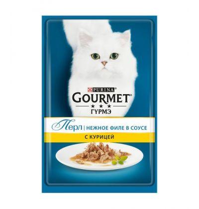 Gourmet Perle влажный корм для взрослых кошек всех пород, курица в соусе