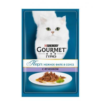 Gourmet Perle влажный корм для взрослых кошек всех пород, ягненок в соусе