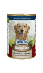 HAPPY DOG Naturl Line телятина с сердцем, натуральный консервированный корм для собак всех пород и щенков