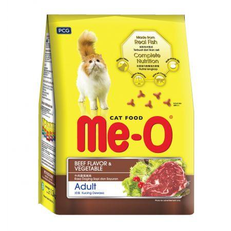 Me-O Adult сухой корм для взрослых кошек всех пород с говядиной и овощами